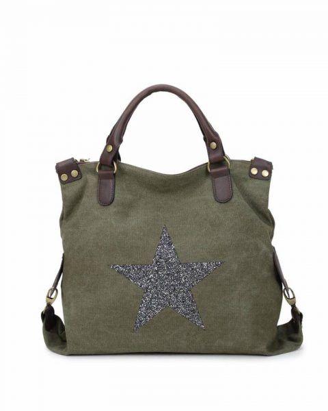 Canvas Tas Ster groen groene grote tas glitter appplicatie stevige dames weekendtassen online fashion bestellen