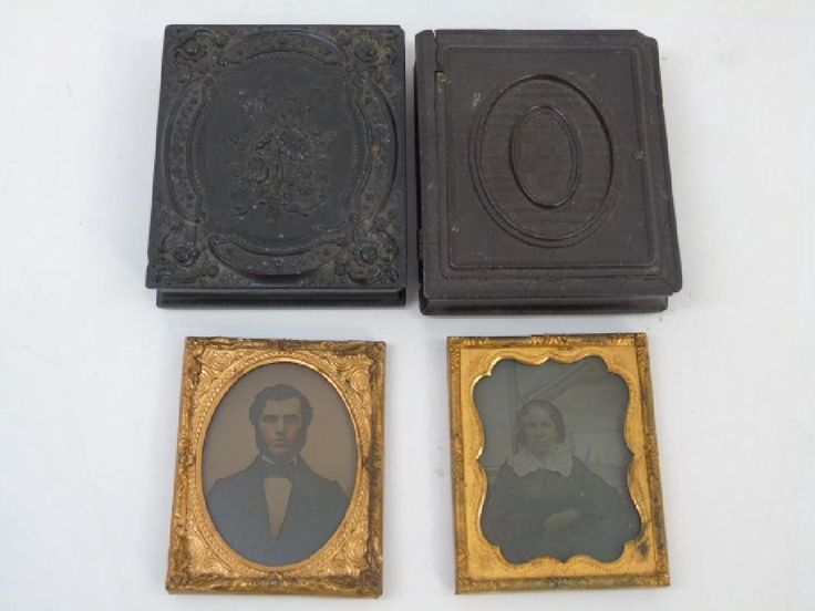 Two Littlefield Parsons & Co Gutta Percha Cases. With Daguerreotype / ambrotype and tin type photographs. One marked on back CT Sylvester on back