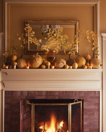 fall decor on the mantel
