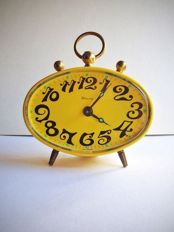 German Alarm Clock Vintage Mid Century Alarm by antiquissimo, $48.00