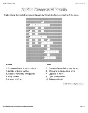 Spring crossword puzzle that changes each time you visit.