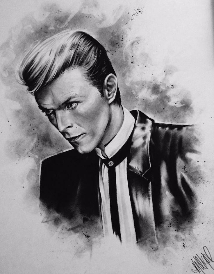 Bowie Charcoal Original - size A2 portrait. R2,500.00 (incl. VAT). Framed (white wood)