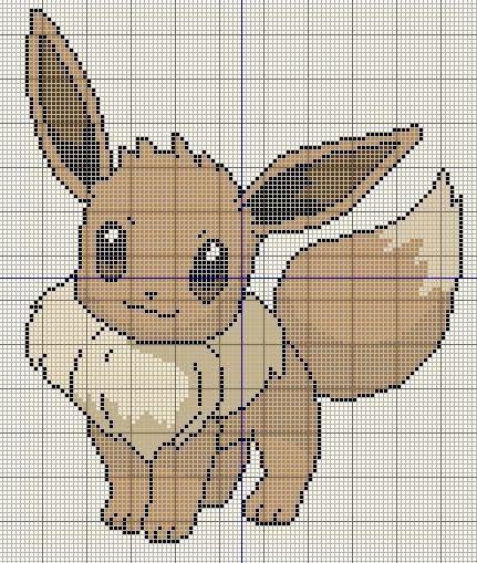 Buzy Bobbins: Eevee - Pokemon cross stitch design