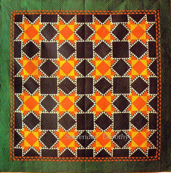 Touching Stars Mennonite Quilt 1900 Pennsylvania Handmade Victorian Patchwork Color Lithograph