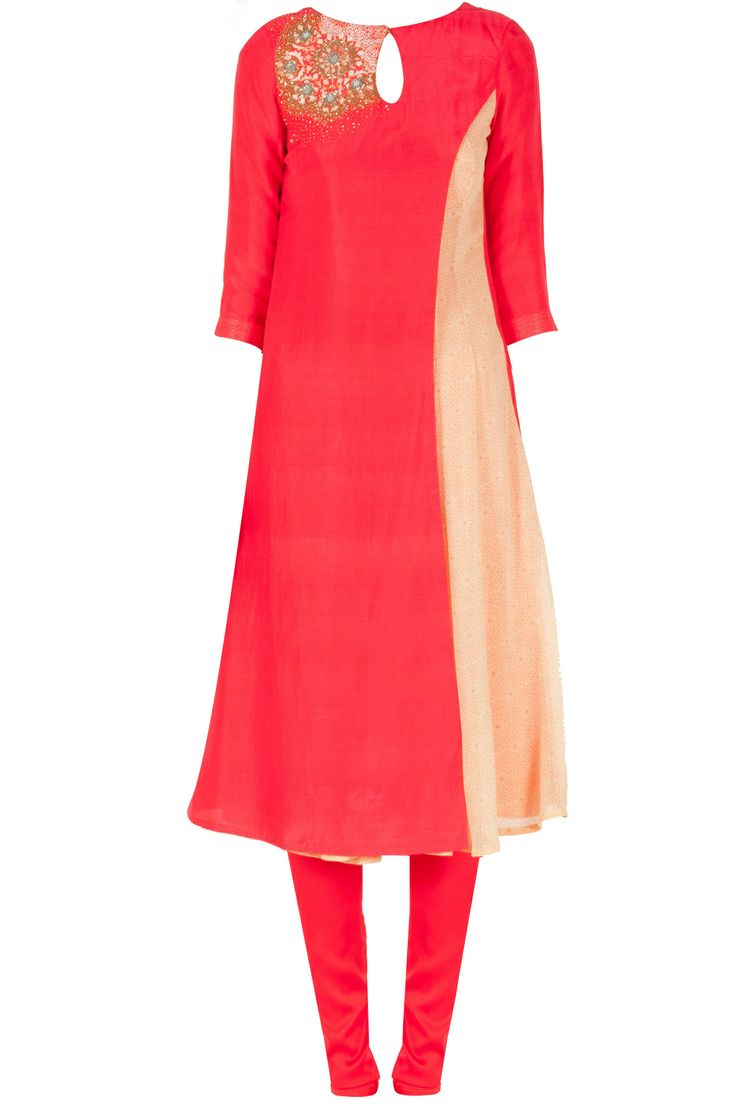 Red long kurta with kalidaar panel available only at Pernia's Pop-Up Shop.