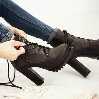 Buy 'chuu – Platform Chunky-Heel Boots' with Free International Shipping at YesStyle.com. Browse and shop for thousands of Asian fashion items from South Korea and more!
