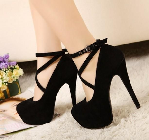 Black Velvety Strappy High Heeled Court Style Pumps – $36.91 #womensshoes