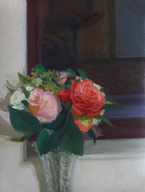 """""""Window Roses at Night"""" By Charmaine P Jackson Oil on 8""""x6"""" linen"""