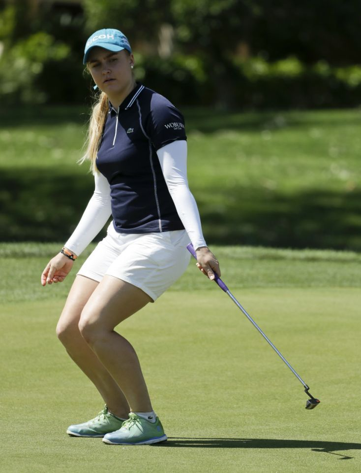 Charley Hull, of Great Britain, reacts after missing a putt on the eighth hole during the second round of the LPGA Tour ANA Inspiration golf tournament at Mission Hills Country Club, Friday, March 31, 2017, in Rancho Mirage, Calif. (AP Photo/Chris Carlson)