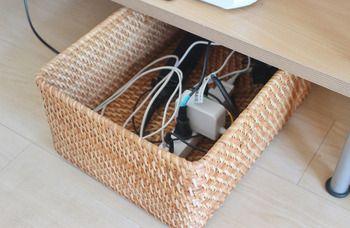 充電していないときは、コード自体を籠にしまっておけば、目立ちません。