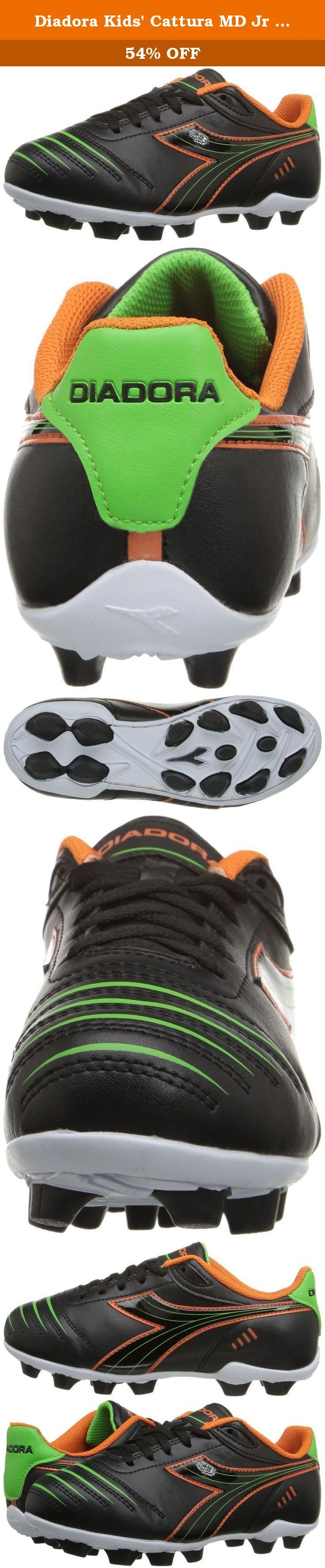 Diadora Kids' Cattura MD Jr Soccer Shoe, Black/Orange/Lime, 11 M US Little Kid. Soccer Cleat with rubber studs for traction and comfort.