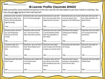 IB PYP Learner Profile Classmate Bingo