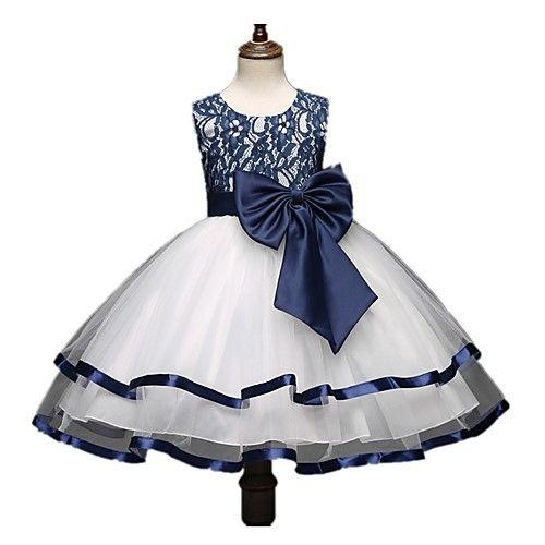 Salón Princesa Hasta la Rodilla Vestido de Niña Florista - Encaje Satén Sin Mangas Joya con Lazo(s) Encaje por Bflower 2018 - p.2747.63
