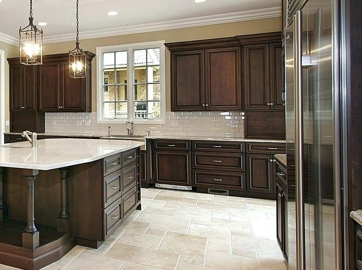 Image Result For Light Floors Chocolate Cabinets Dark Brown Kitchen Cabinets Brown Kitchen Cabinets Cherry Cabinets Kitchen