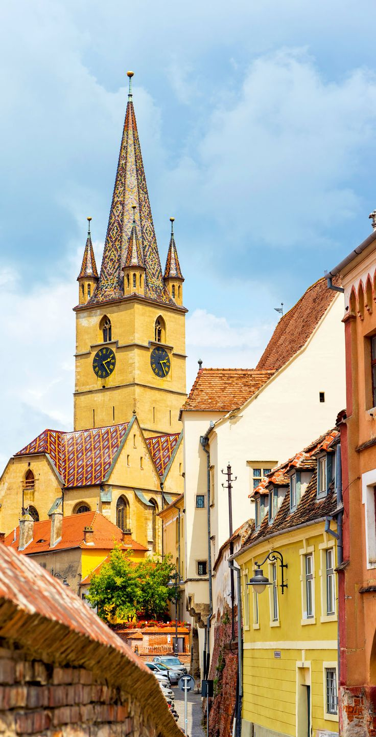 Beautiful View of Lutheran Cathedral, Sibiu city, Romania