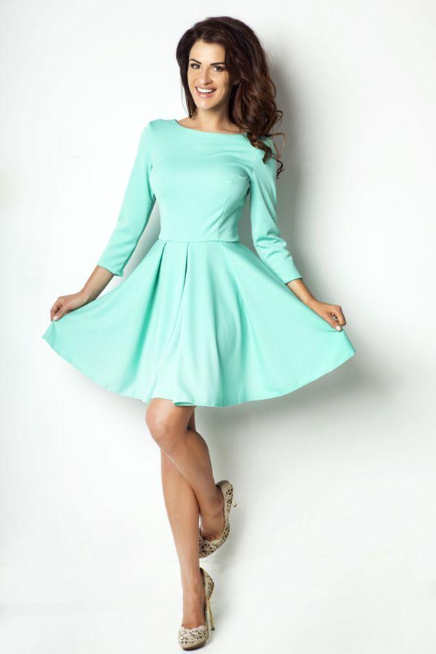 Rozkloszowana sukienka ułożona w fałdy 172 mięta - ivon-sklep - Sukienki mini