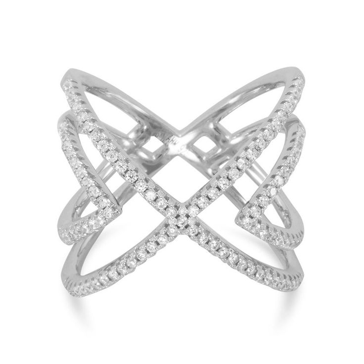 """Rhodium Plated CZ Cut Out """"X"""" Design Ring"""