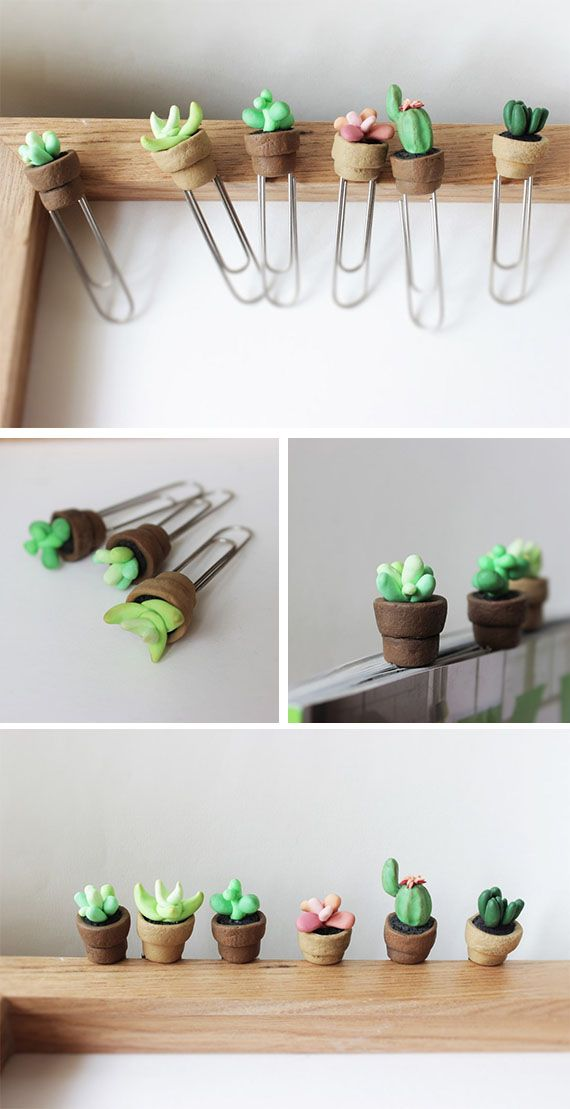 Cactus plant miniature paper clips planner accessories succulents and cacti cute bookmarks Planner cacti wood glow in the dark bookmark