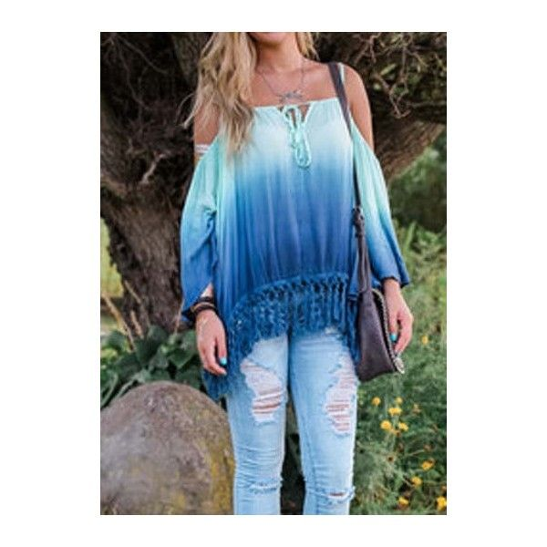 Rotita Tassel Design Off the Shoulder Gradient Blouse ($21) ❤ liked on Polyvore featuring tops, blouses, blue, strappy top, collar blouse, long sleeve blouse, off shoulder long sleeve top и pattern blouse