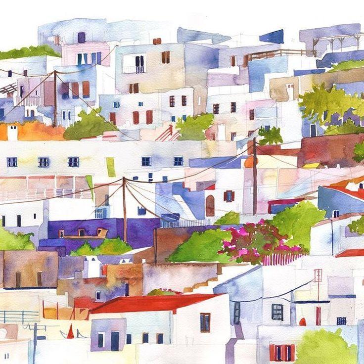 original watercolor painting for sale, link in bio majawronska.bigcartel.com #rhodes #greece #greece #giftideas #lindos #mediterranean #city #watercolor #watercolorpainting #illustration