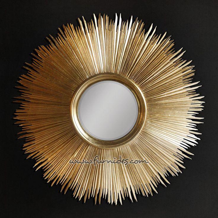 Cermin Hias Matahari Warna Emas | FurniDes.Com