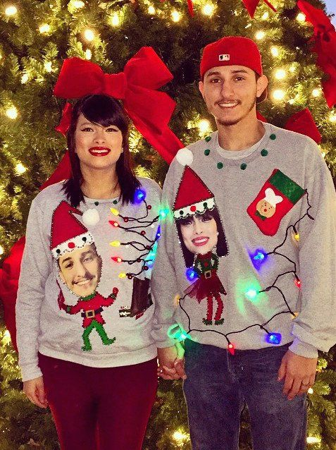 Pin for Later: Make Everyone at the Party Jealous With These Ugly Christmas Sweaters For Couples Elf Swap