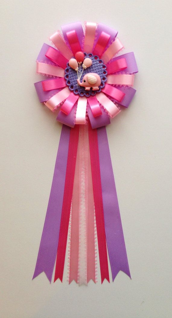 Pink Yellow Purple Baby Shower Part - 22: Elephant Theme -Pink And Purple Colors- Elephant Corsage - Baby Shower Mum-  Ready