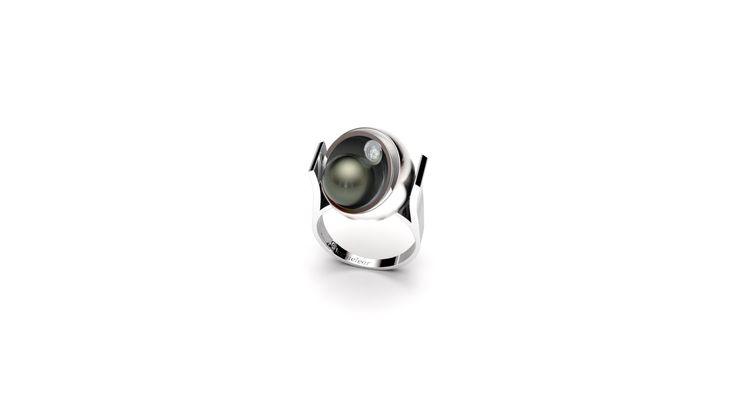 Bague Maura Or Blanc Perle de Tahiti et Diamant | Cameleor