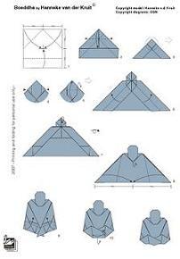 Hoe vouw ik een boeddha. Het ontwerp is van origami-expert Hanneke van der Kruit.