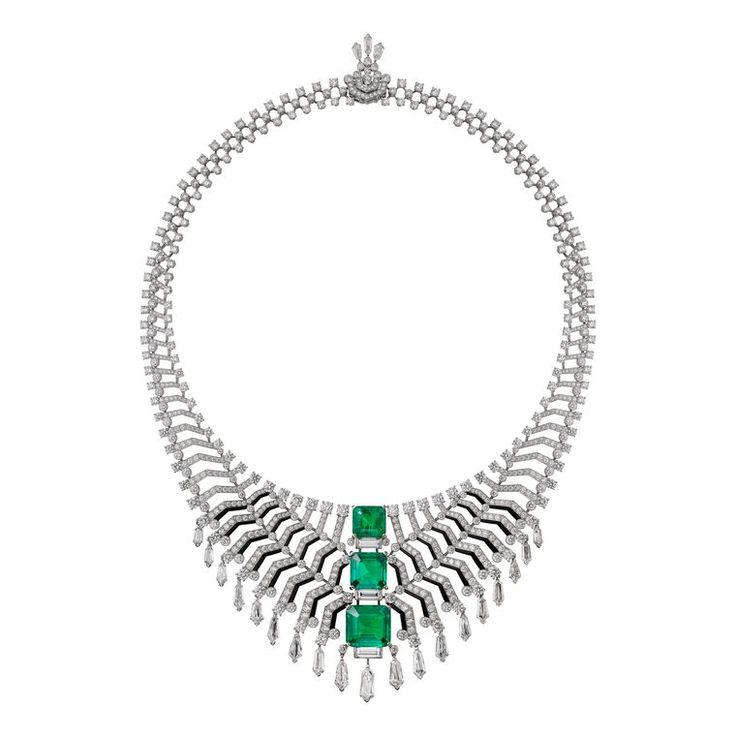 Dancing emeralds: the Cartier Magicien Oracle necklace hypnotises us with repeating patterns of diamonds leading to three step-cut Colombian emeralds (POA). See more: http://www.thejewelleryeditor.com/jewellery/cartier-magicien-high-jewellery-collection-review/ #jewelry #statement