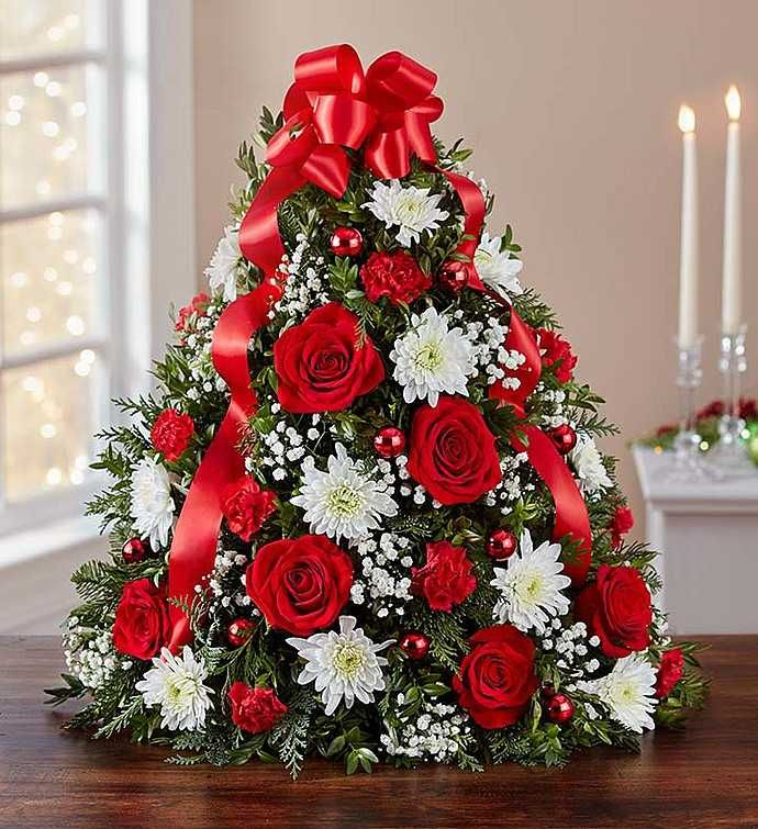 Holiday Flower Tree Christmas Floral Arrangements Christmas Flower Arrangements Christmas Flowers