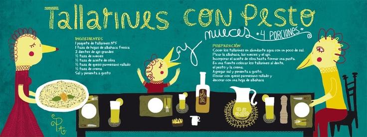Tallarines al pesto - Cositas ricas ilustradas por Pati Aguilera http://cositasricasilustradas.blogspot.com.es/