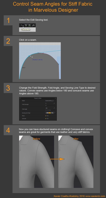 ArtStation - Tutorial: Control Seam Angles for Stiff Fabric in Marvelous Designer, Xavier Coelho-Kostolny