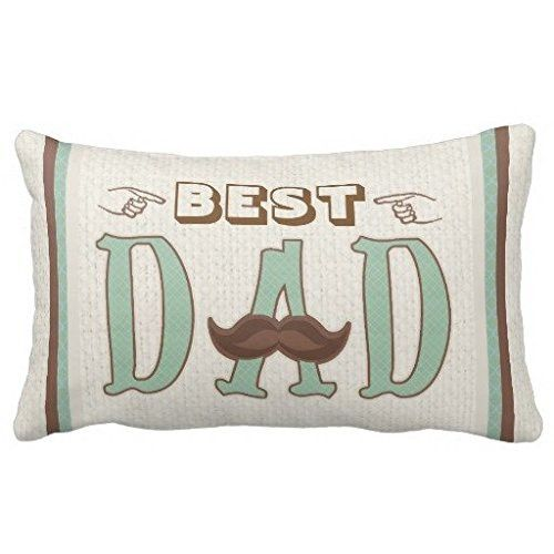 Standard Pillowcase Home Decorative Cushion Case Fathers Day Hipster Best Dad Mustache Pillow Cover 12x20 Inches