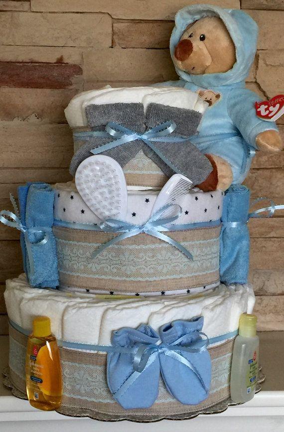 Shabby chic blue diaper cake, blue burlap diaper cake, diaper cakes for boys, burlap baby shower, rustic baby shower