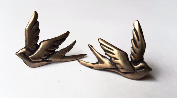 Pair of Swallow Pins - Handmade. Bronze. BUY NOW. nickrule.com