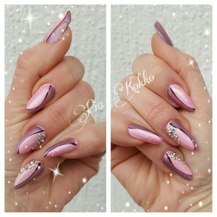 #flamingo #orhcid #deepred #abdiamonds #glitter #uvgel #nailart #mosaic #mosaicnailsystems #passionfornails