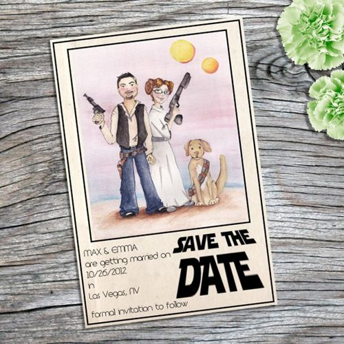 save-the-dates - hand-painted