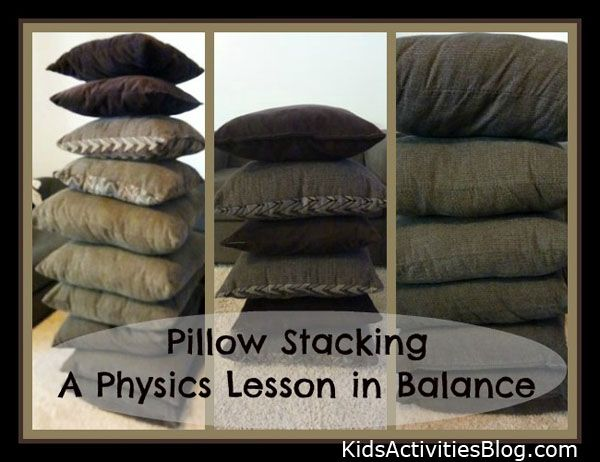 Pillow Stacking: A Physics Lesson in Balance: Kids Experimenting, Blocks Building Activities, Physics, Kids Activities, Education Homeschool, Homeschooling Science, Preschool Steam, Preschool Science, Preschool Blocks Building