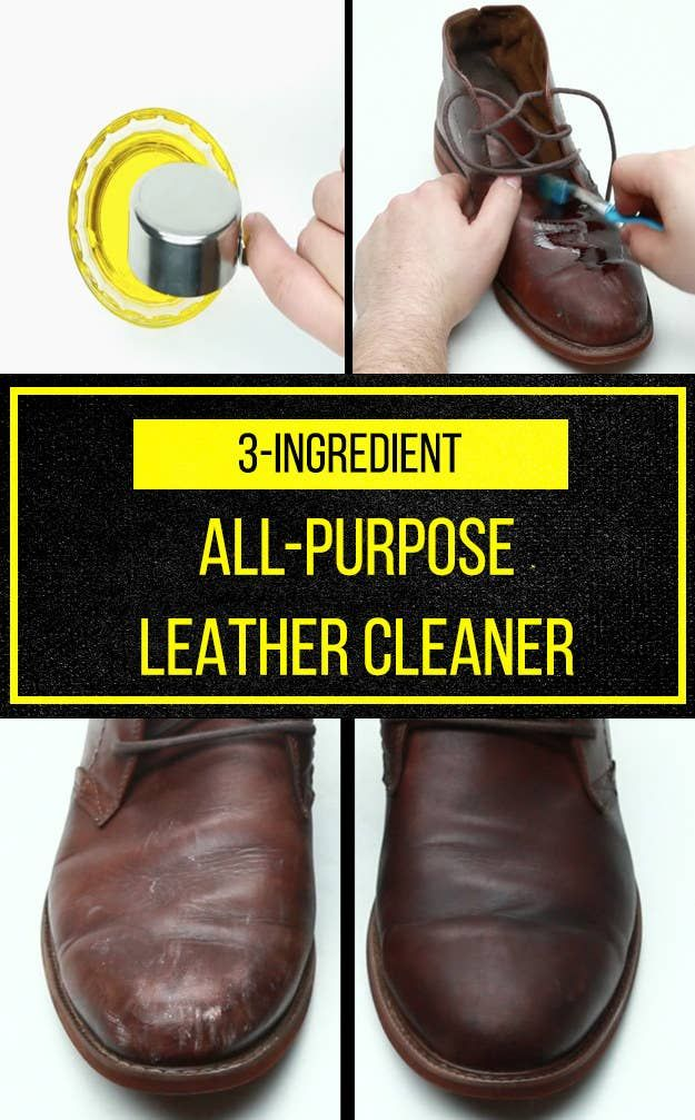 Leather shoe cleaner, Cleaning