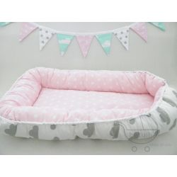 Kokon niemowlęcy chmurki - gwiazdki, pastelowy --> www.betulli.pl