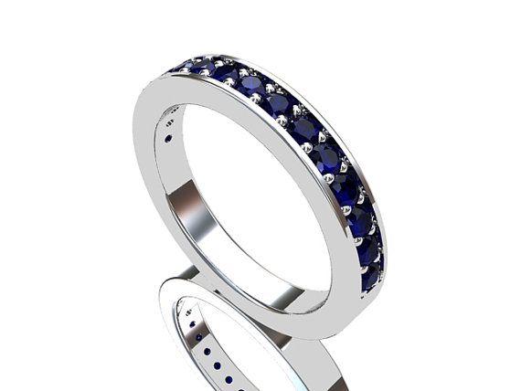Blue sapphire ring, White Gold, sapphire wedding band,blue wedding, wedding ring, blue, half eternity, wedding band, birthstone via Etsy