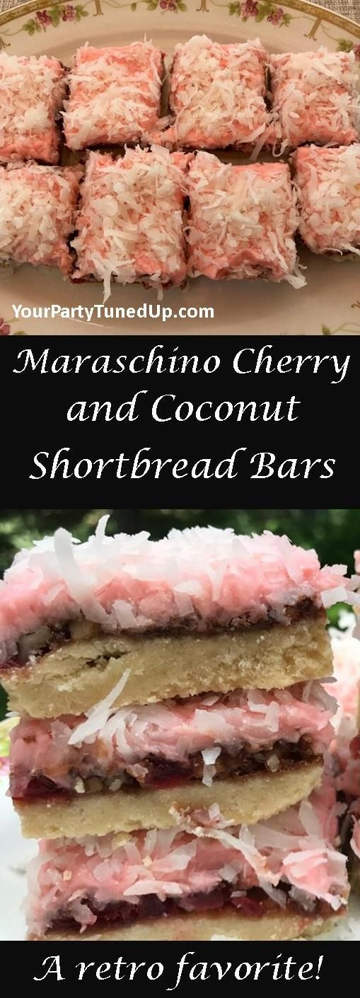 MARASCHINO CHERRY & COCONUT SHORTBREAD BARS. The crust is rich and buttery, filling brims with cherries and walnuts, topped by a cherry frosting and coconut. From a retro cookbook, a new favorite!