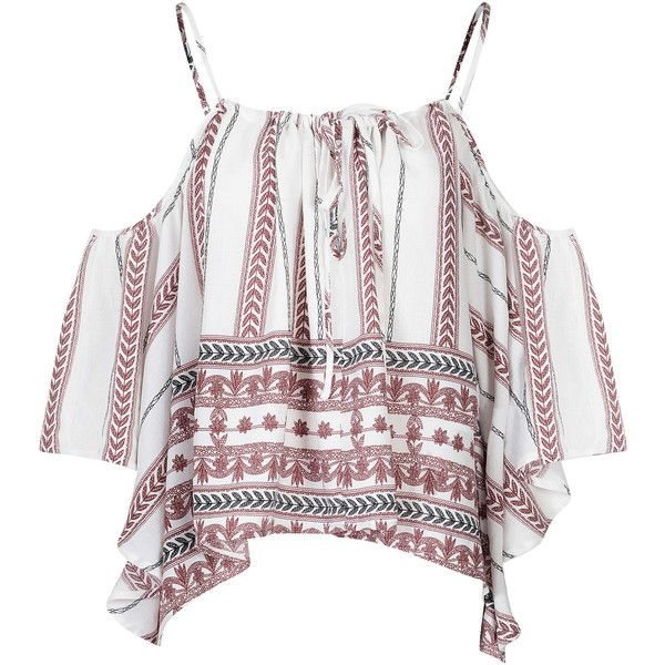 White Tribal Print Cold Shoulder Top (39 AUD) ❤ liked on Polyvore featuring tops, crop top, white, white spaghetti strap top, summer tops, white crop top and white summer tops