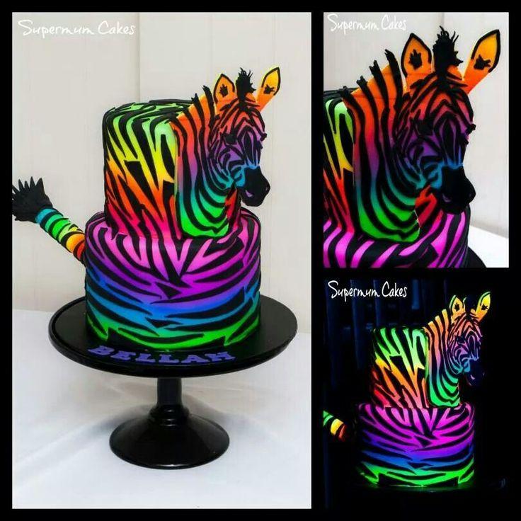 Glow in the dark rainbow zebra cake