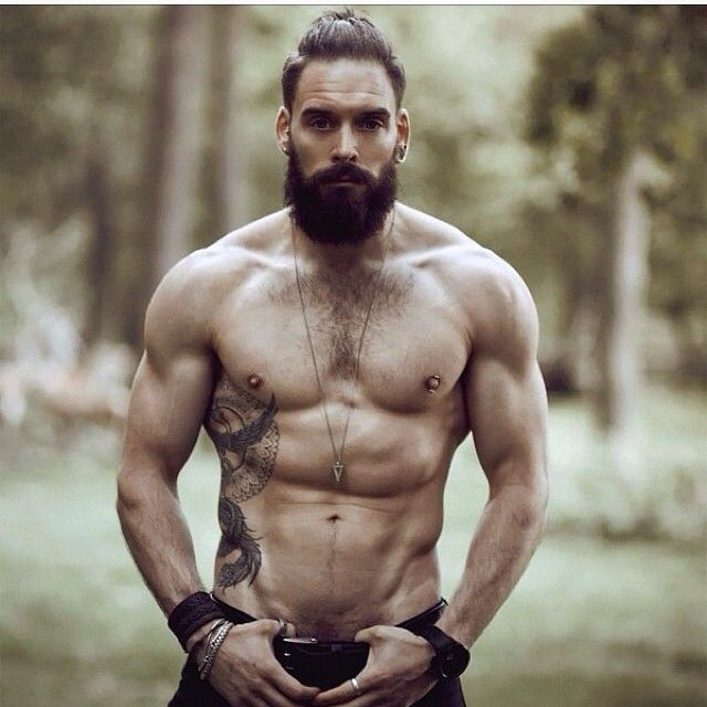 full thick bushy dark beard and mustache beards bearded man men tattoos tattooed built muscles muscular fit fitness bearding #beardsforever