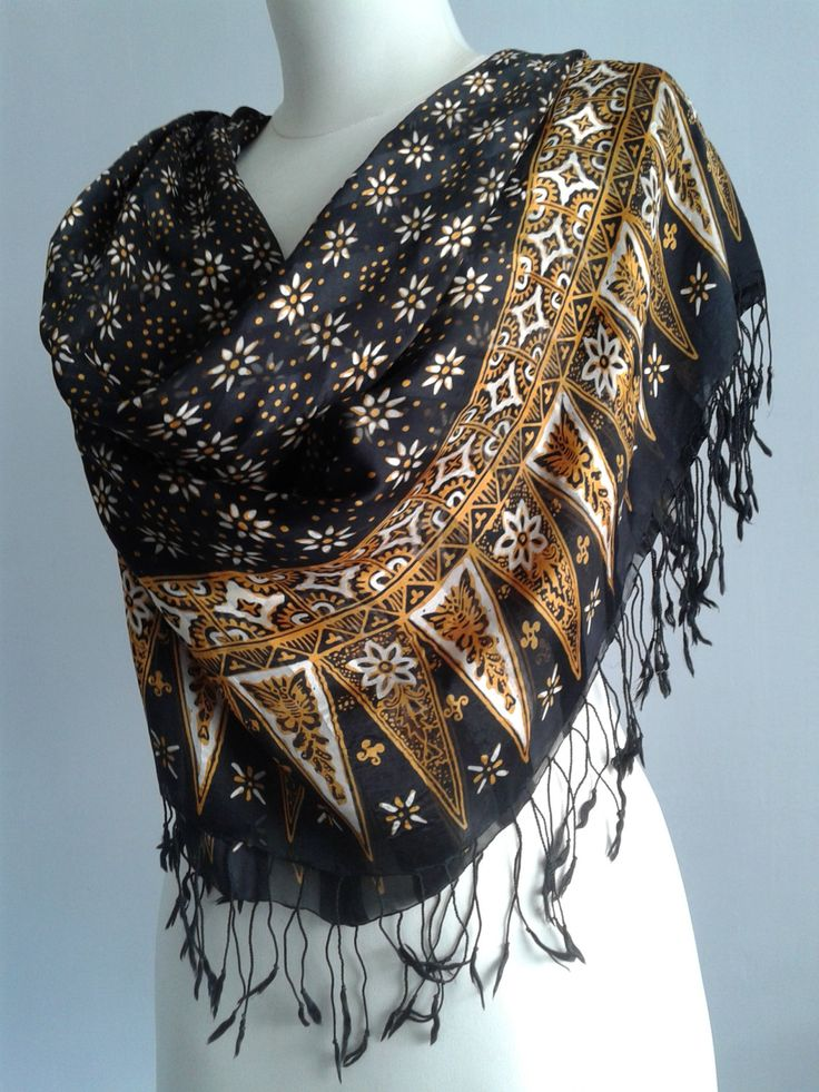 New to JavaniceHandyCraft on Etsy: FREE SHIPPING 195 cm x 90 cm Handmade Featherlight  Silk Scarf  handprinted Batik Shawl Black and Gold with white flowers. sarong. (45.00 USD)