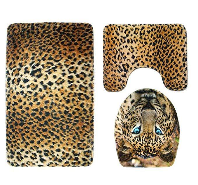 Warmshop 3pcs A Set Bathroom Toilet Rug Animal Tiger Leopard