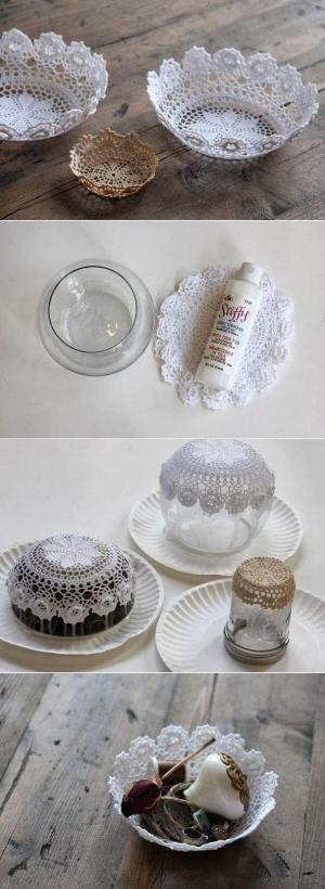 DIY Easy Doily Bowl   DIY & Crafts Tutorials by crazy sheep