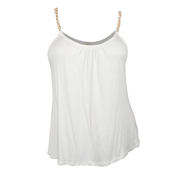 Plus size Gold Chain Strap Cami Top White ($22) ❤ liked on Polyvore featuring tops, shirts, blusas, camisolas, fish tank, white tank, tank top, white shirt and camisole